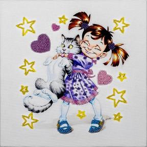 Девочка с котом Набор для вышивки бисером Волшебная страна FLF-014