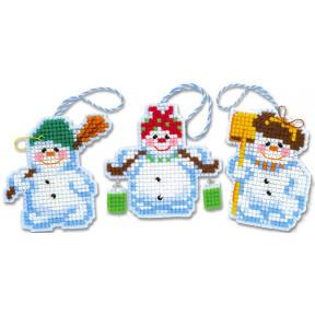 Набор для вышивания крестом Риолис 1681АС Новогодние игрушки Снеговички