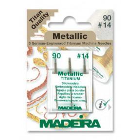 Иглы для металлических ниток 90/14 (3 иглы/карточка) 9451