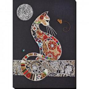 Кошка и бабочка Набор для вышивки бисером Абрис Арт АВ-794