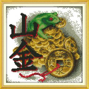 Денежная лягушка Набор для вышивания крестом с печатью на ткани NKF D 232