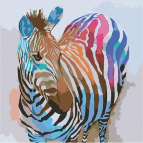 Зебра поп-арт Картина по номерам Идейка холст на подрамнике 40x40см КНО2463