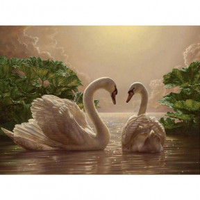 Пара лебедей Картина по номерам Идейка холст на подрамнике 40x50см КНО301