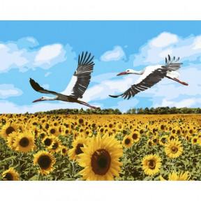 Аисты в небе Картина по номерам Идейка холст на подрамнике 40x50см КНО4182
