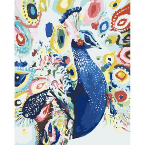 Яркий павлин Картина по номерам Идейка холст на подрамнике 40x50см КНО2492