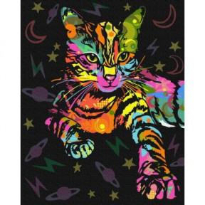 Неоновая кошка BrushMe холст на подрамнике 40x50см GX39229
