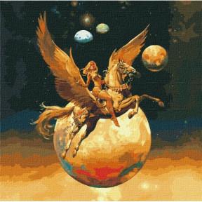 Завоевательница космоса с красками металлик Картина по номерам Идейка подарочная упаковка 50x50см КНО9542
