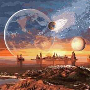 Космическая пустыня с красками металлик  Картина по номерам Идейка подарочная упаковка 50x50см