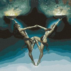 Магия двух с красками металлик Картина по номерам Идейка холст на подрамнике 50x50см