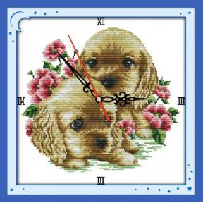 Часы. Щеночки Набор для вышивания крестом с печатью на ткани NKF G 225