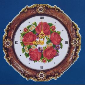 Часы. Розы Набор для вышивания крестом с печатью на ткани NKF G067