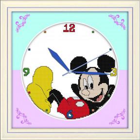 Часы. Микки Маус Набор для вышивания крестом с печатью на ткани NKF G 001