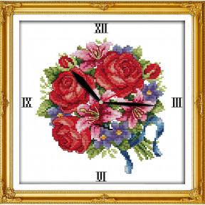Часы. Букет розы и лилии Набор для вышивания крестом с печатью на ткани NKF G 046