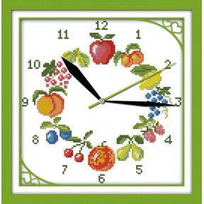 Часы. Фрукты Набор для вышивания крестом с печатью на ткани NKF G 198