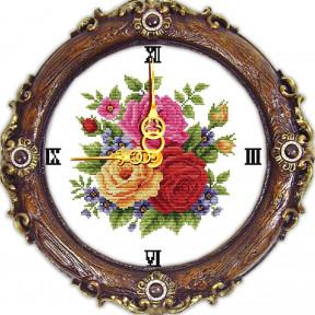 Часы с розами Набор для вышивания крестом с печатью на ткани NKF G 028
