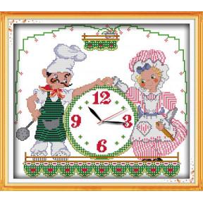 Часы поварята Набор для вышивания крестом с печатью на ткани NKF G 318