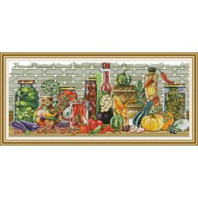 Кухонный натюрморт Набор для вышивания крестом с печатью на ткани NKF J 488