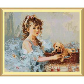 Девочка с собакой Набор для вышивания крестом с печатью на ткани NKF RA 311