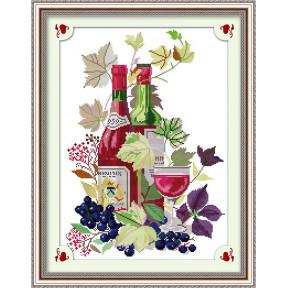 Вино и фрукты Набор для вышивания крестом с печатью на ткани NKF J 010