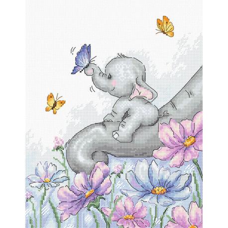Слон с бабочкой Набор для вышивки крестом Luca-S B1183