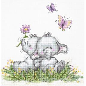 Пара слоников Набор для вышивки крестом Luca-S B1184
