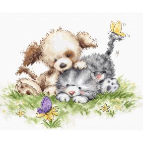 Собака и кошка с бабочкой Набор для вышивки Luca-S B1185