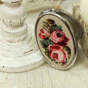 Зеркальце овальное Винтаж. Розы Набор для создания украшения в технике микровышивки Lifeisbeautiful МВ1001