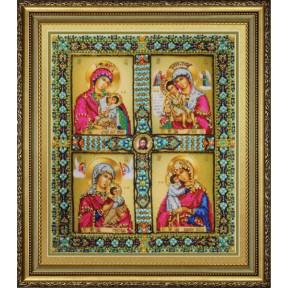 Набор для вышивания Картины Бисером Четырехчастная Икона Пресвятой Богородицы Р-429