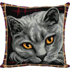 Подушка. Британская кошка Набор для вышивки крестом Panna ПД-7122