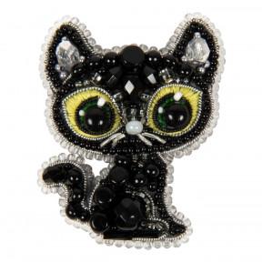 Чёрный кот Crystal Art Набор для изготовления броши БП-330