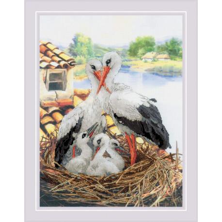 Семейство аистов Набор для вышивания крестом Риолис РТ-0088
