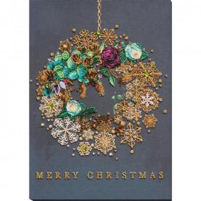 Новогодний венок Набор для вышивки бисером Абрис Арт АВ-828