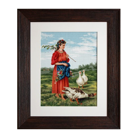 Набор для вышивки Luca-S Девочка с гусями B486 фото