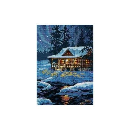 Набор для вышивания крестом Dimensions 65007 Moonlit Cabin фото