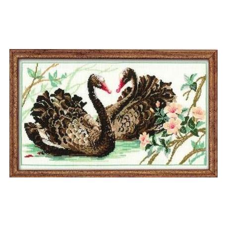 Набор для вышивки крестом Риолис 806 Черные Лебеди фото