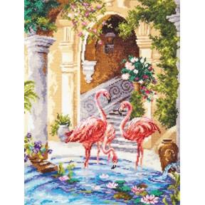 Набор для вышивки крестом Чудесная игла 64-02 Розовые фламинго