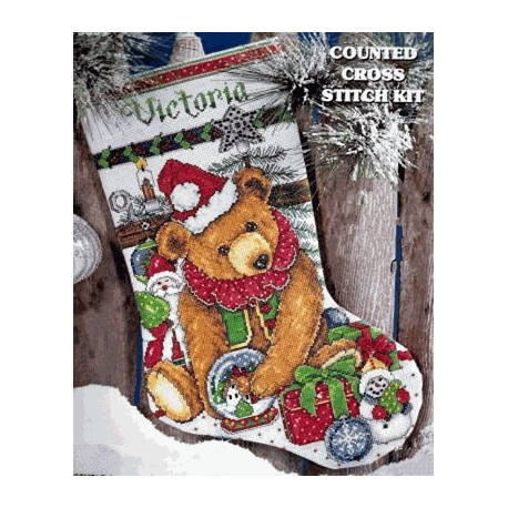 Набор для вышивания сапога Design Works 5391 Victorian Bear фото