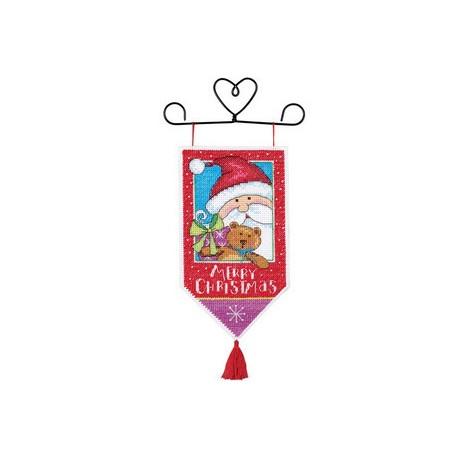 Набор для вышивания баннера Dimensions 8810 Santa & Teddy Banne