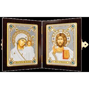 Набор с рамкой-складнем для вышивания бисером Новая Слобода СМ7000 Богородица Казанская и Христос Спаситель
