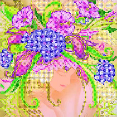 Схема для вышивания бисером Абрис Арт АС-007 Девушка-Лето фото