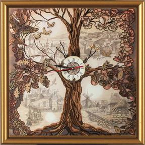 Набор для вышивания бисером и крестом Нова Слобода ЕМ-1001 Дерево-часы