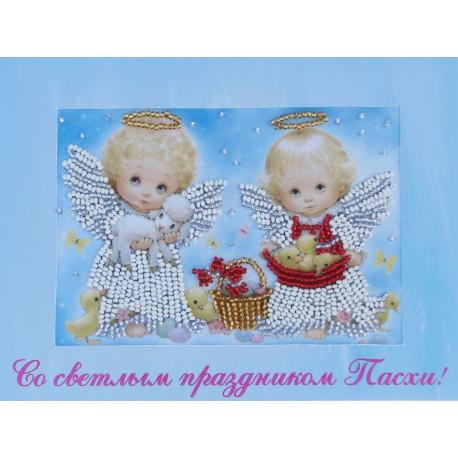 Набор для вышивания открытки бисером Butterfly 732 Ангелочки