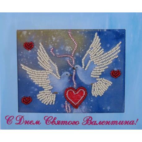 Набор для вышивания открытки бисером Butterfly 722 Голубки фото