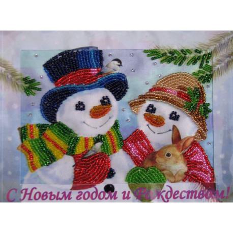 Набор для вышивания открытки бисером Butterfly 701 Снеговички
