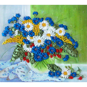 "НЛ-3014 Набор для вышивания лентами Марічка ""Полевые цветы на окне"""